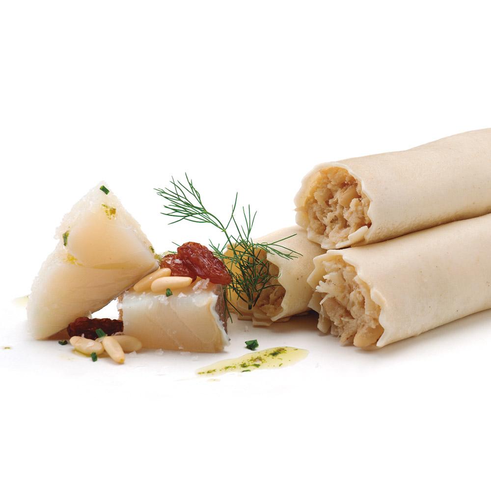 La Botiga dels canelons Crossandra - Canelons de bacallà amb panses i pinyons