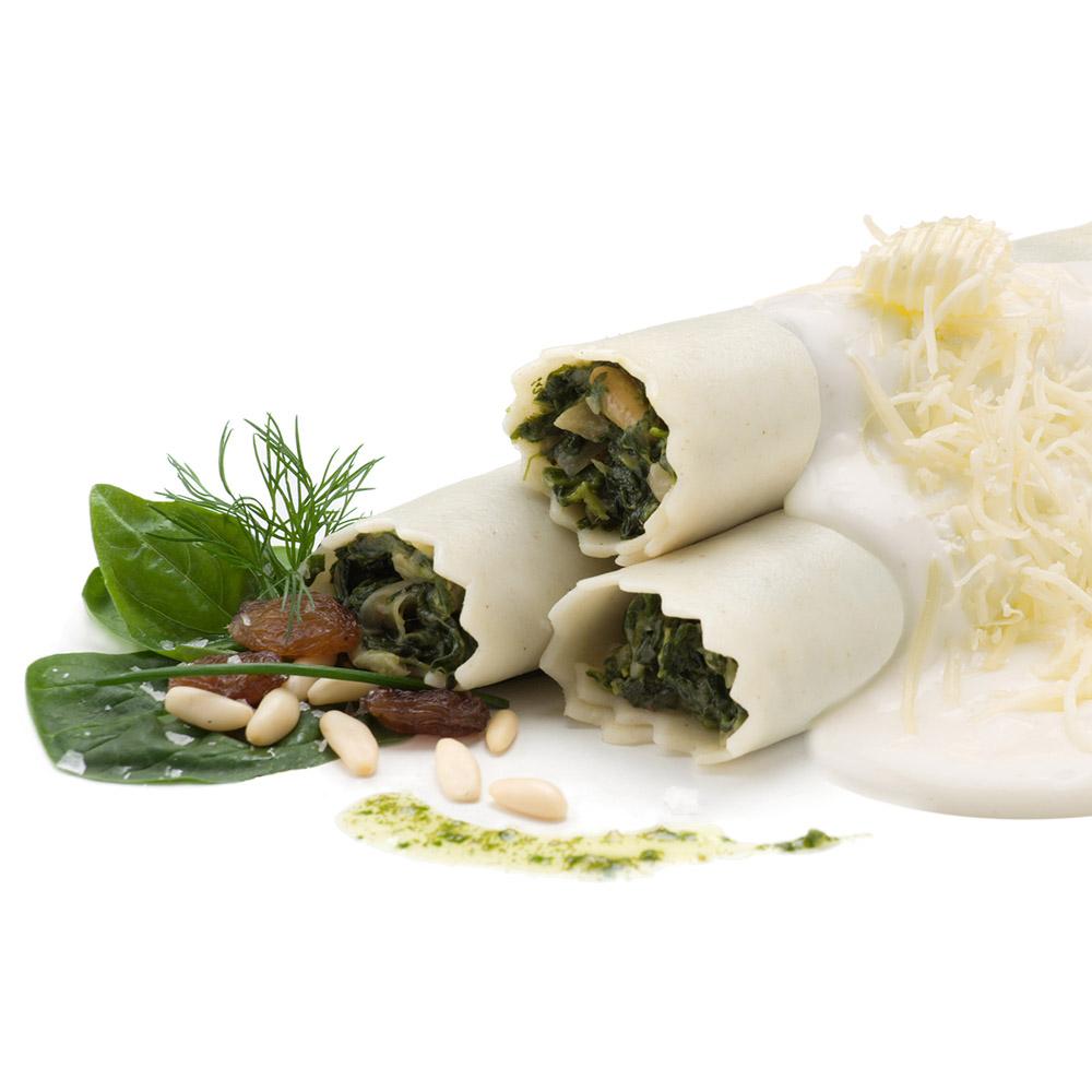 La Botiga dels canelons Crossandra - Canelons d'espinacs amb mozzarella, panses i pinyons, sense gluten